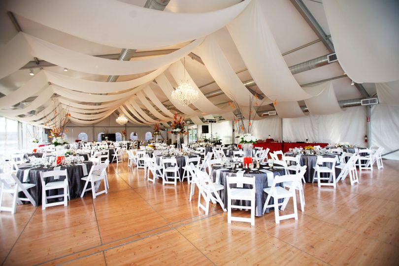 Reception hall draping and decor