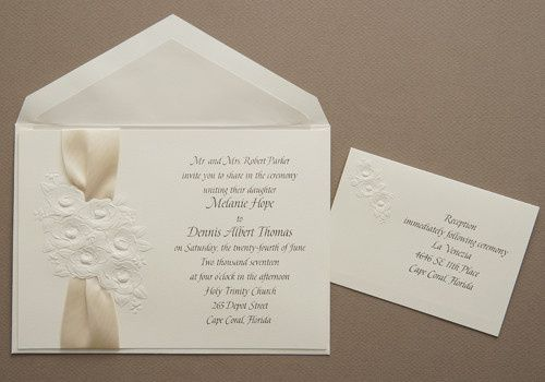 Embossed gardenia bouquet with a cream ribbon gives this invitation a soft and elegant touch.