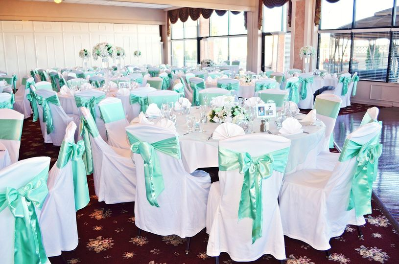 Turquoise chair ribbons