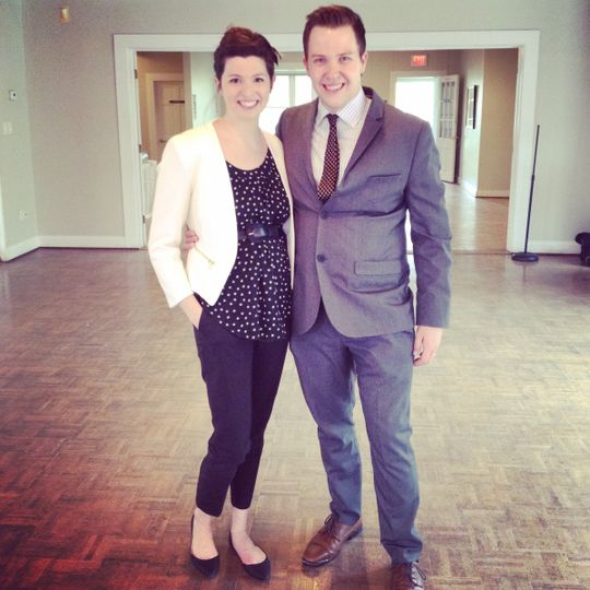 Sportin' our new wedding duds.  April 2015 Location: Historic London Town and Gardens, MD