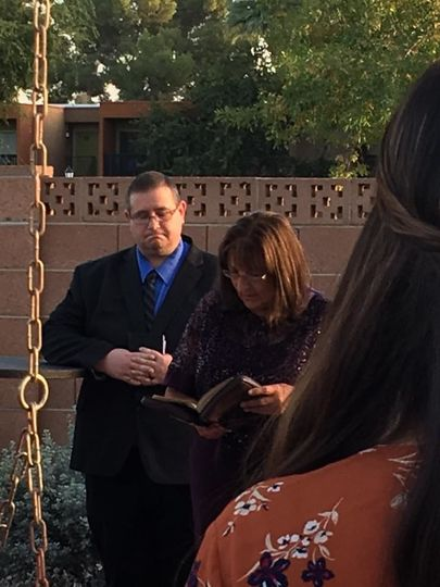 Groom Mother doing a reading