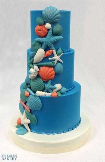 3tot blue multicolor fondant buttercream seashel