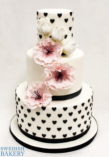 3tot white pink black fondant cascading flowers h