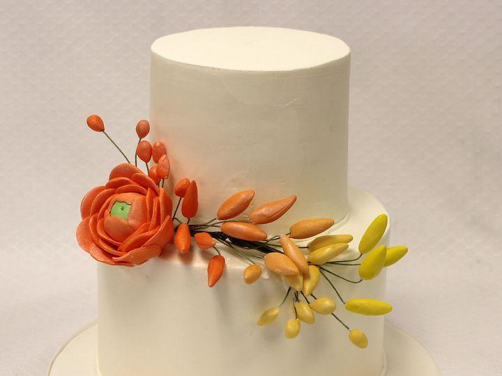 Tmx 1437752932558 2tot White  Orange Buttercream Flower Wedding Cake Chicago wedding cake