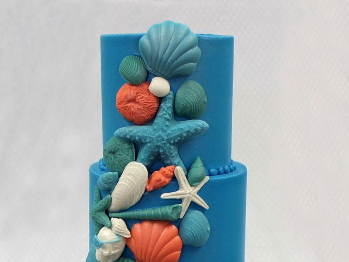 Tmx 1437753468252 3tot Blue  Multicolor Fondant  Buttercream Seashel Chicago wedding cake