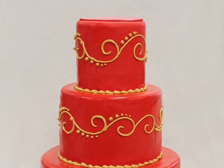 Tmx 1437753606648 3tot Red  Gold Fondant Scrolls Wedding Cake 5 Chicago wedding cake