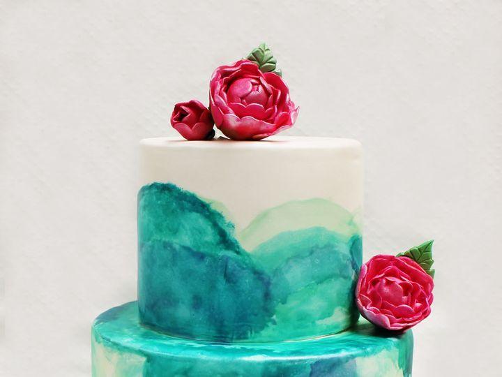 Tmx 1470855686618 2tot White  Blue Fondant Watercolor Brushtrokes Pa Chicago wedding cake