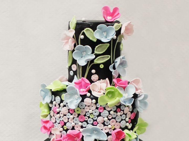 Tmx 1470855771728 3tot Black  Multicolor Fondant Cascading Flowers   Chicago wedding cake