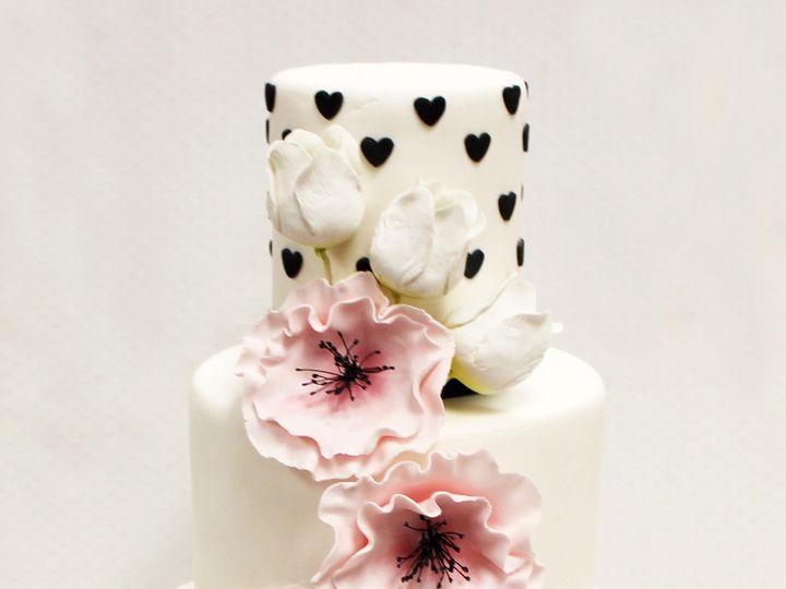 Tmx 1470856455294 3tot White Pink  Black Fondant Cascading Flowers H Chicago wedding cake