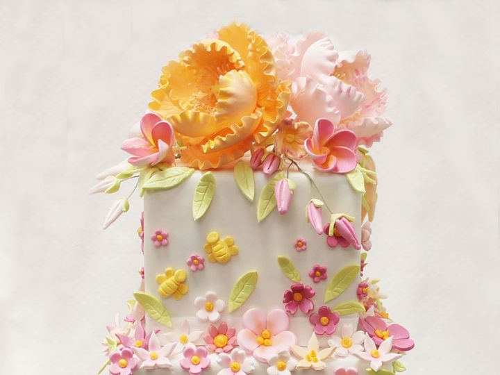 Tmx 1470856484609 3tot White Pink Orange  Green Square Scattered Flo Chicago wedding cake