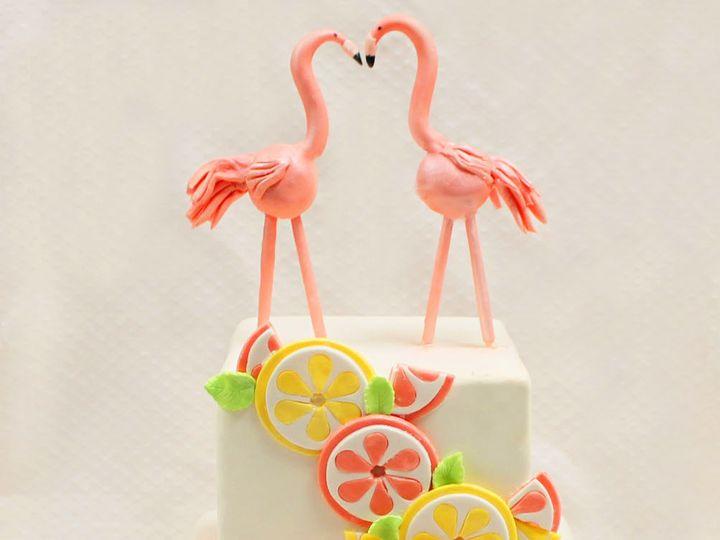 Tmx 1470856835648 2tot White Pink Yellow  Green Fondant Flamingos Ca Chicago wedding cake