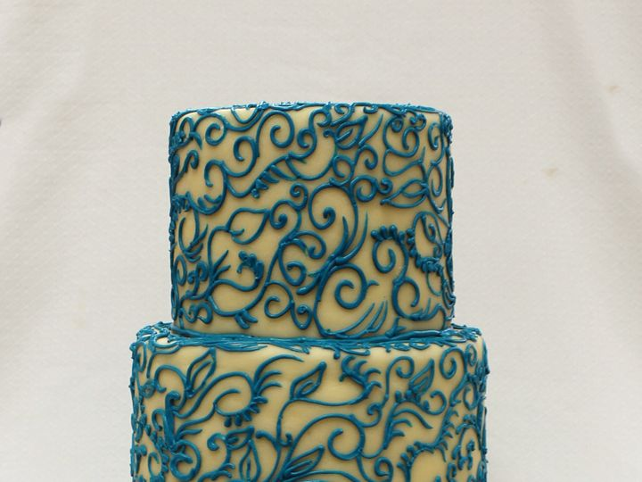 Tmx 1470857223934 3tot Wedding Cake Offwhite Marzipan With Blue Aqua Chicago wedding cake