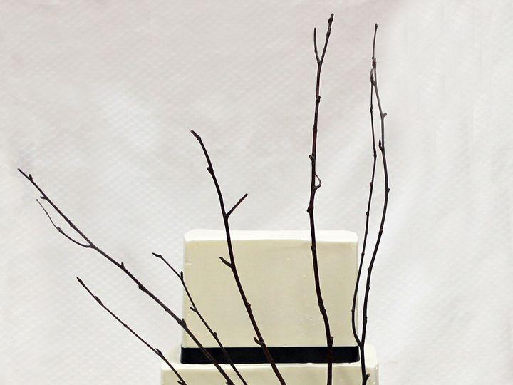 Tmx 1470857278452 3tot White  Black Fondant Twig  Flower Wedding Cak Chicago wedding cake
