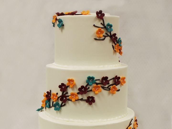 Tmx 1470859568366 3tot White Orange Maroon Turquoise Blue Buttercrea Chicago wedding cake