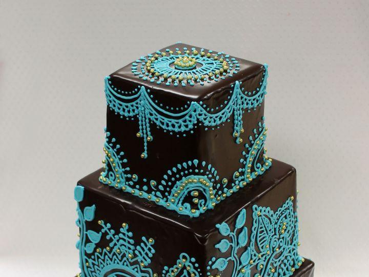 Tmx 1470924927452 3tot Ganache Wedding Cake Aqua Teal Custom Henna D Chicago wedding cake