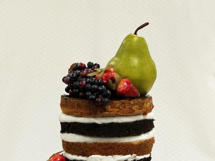 Tmx 1470926338561 Naked Cake Yellow And Fudge Layers Fruit Deco Chicago wedding cake