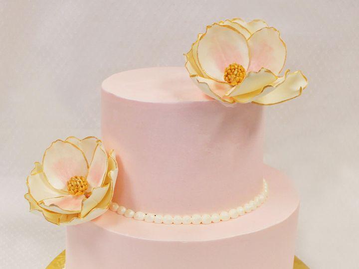 Tmx 1471285668154 2tot Pink  Gold Buttercream Flower Wedding Cake 6  Chicago wedding cake