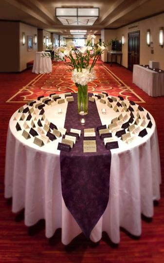 The ballroom foyer at the Trumbull Marriott provides an elegant cocktail scene for pre-function...