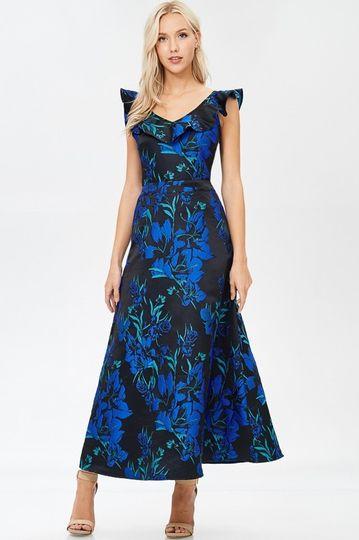 Vivid blue florals gown