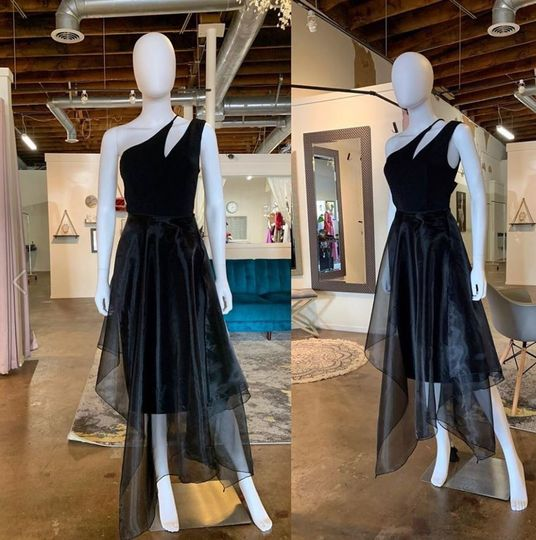 Striking off-the-shoulder gown