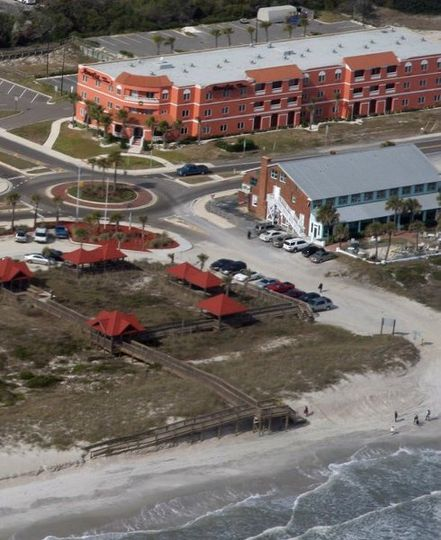 This view from the air allows you to see how close the hotel is to the actual beach...we are the...