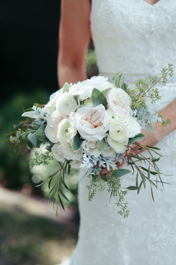 Soft, romantic bouquet with garden roses and greens