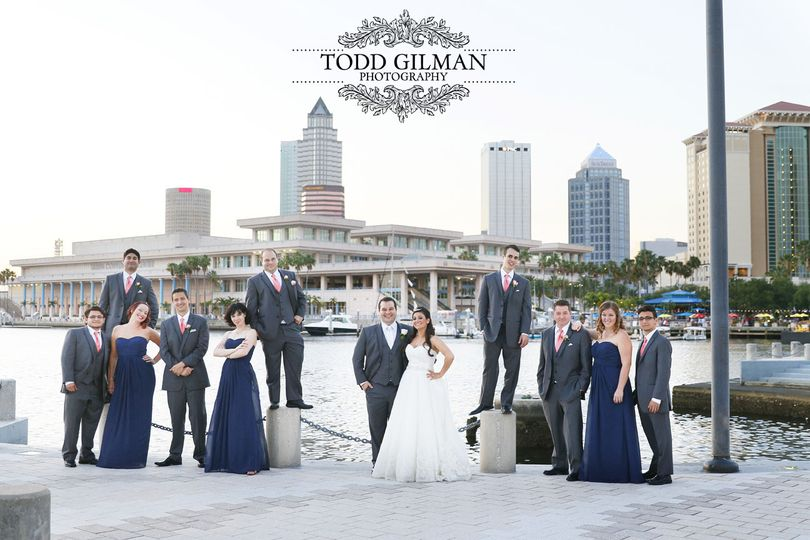 krystyna and jason bridal party on water