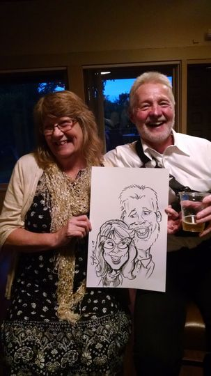 Guests with their drawing