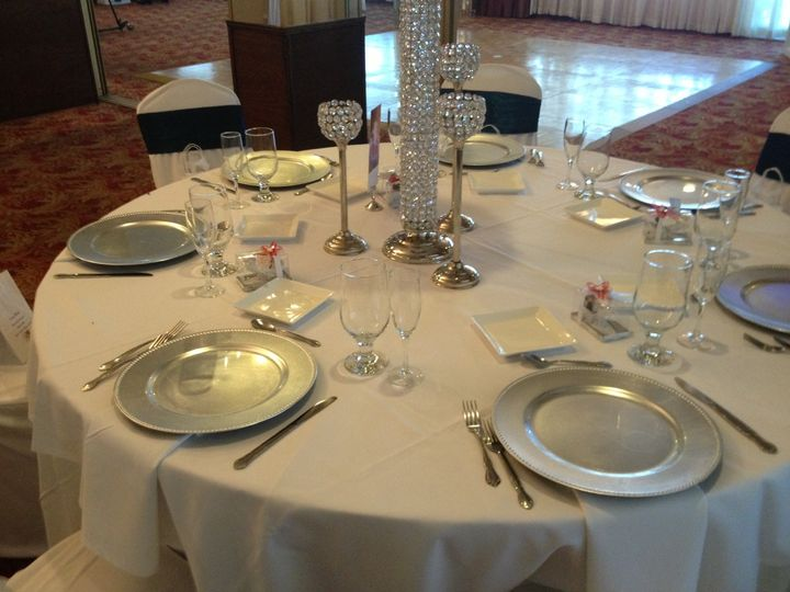 This wedding reception was decorated nicely with crystals on each table to give it a hint of glitter...