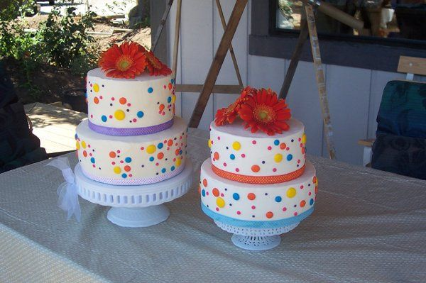 Bright multi-colored edible sugar polka dots.