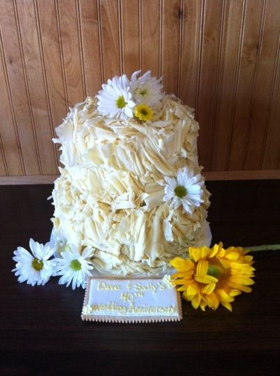 Rustic romance with shaved white chocolate sunflowers