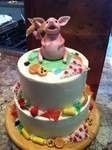 Maxwell the Pig celebrates a birthday!  Made of fondant along with the snacks he's eating.  Pizza,...
