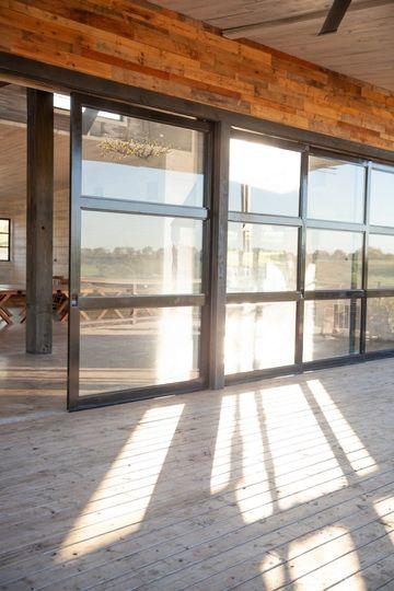 Wall of glass doors