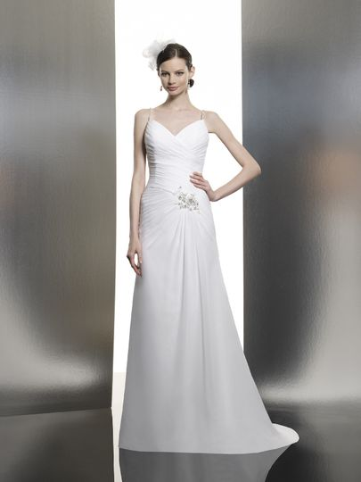 T635  This ruched trumpet features a sweetheart neckline with beaded straps that dip into a low back...
