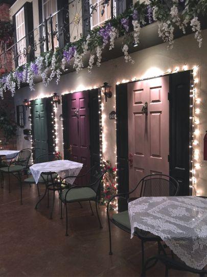 lavendar and white wisterias on loft edge
