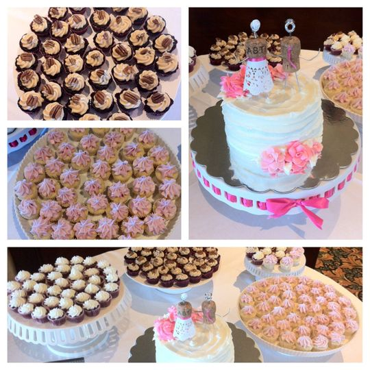 Mini cupcake buffet and small wedding cake the bride and groom can cut and save.