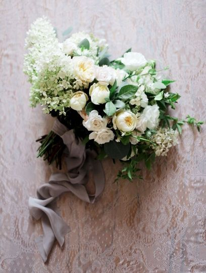 Hydrangea, garden roses, Queen Anne's lace, garden greenery and vines-tied with silk ribbons