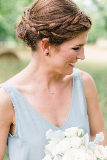 Wedding updo with side braids