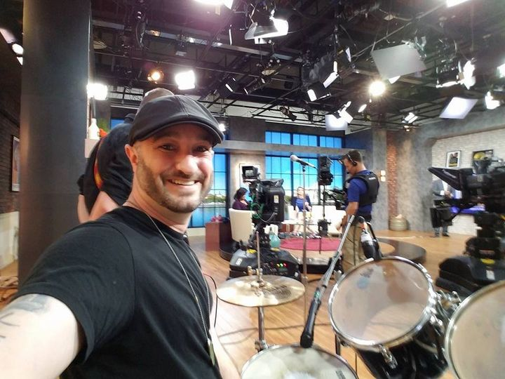 Getting ready to play drums for a former American Idol contestant on Fox 5 Morning News!