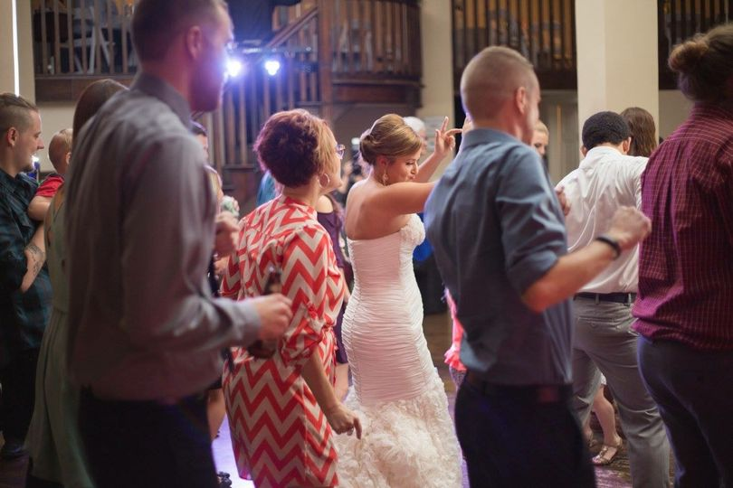 Bride with her guests' dancing