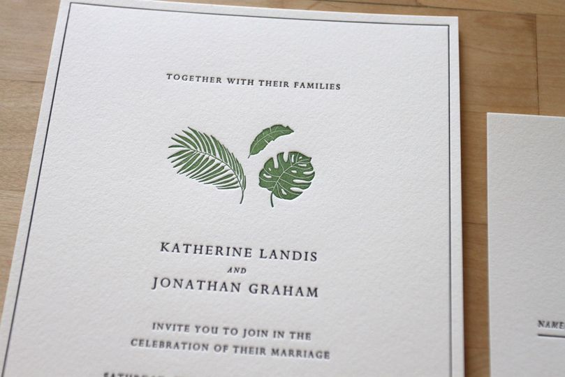 letterpress wedding invitation tropical leaves cos