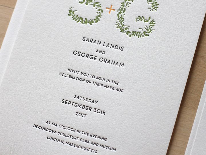 Tmx 1460830939202 Botanical Leaves Letterpress Wedding Invitation Durham wedding invitation