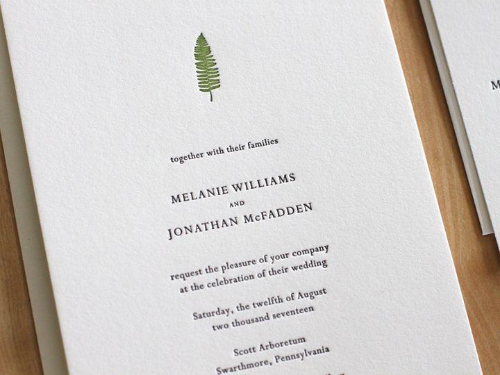 Tmx 1460831016179 Christmas Fern Letterpress Wedding Invitation Durham wedding invitation