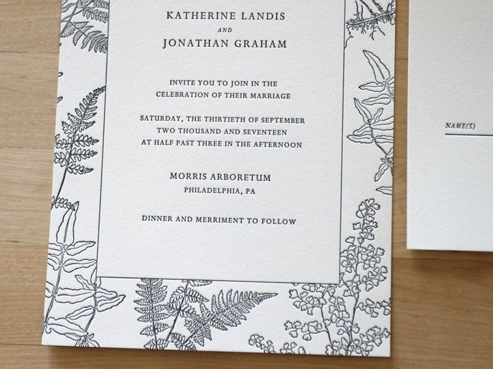 Tmx 1483582439340 Botanic Garden Ferns Letterpress Wedding Invitatio Durham wedding invitation