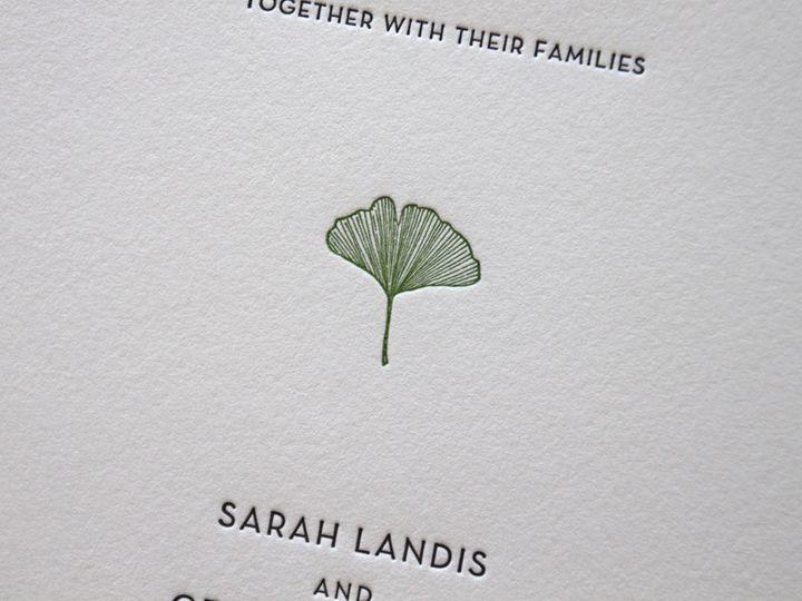 Tmx 1483582489615 Gingkos Botanical Garden Letterpress Wedding Invit Durham wedding invitation