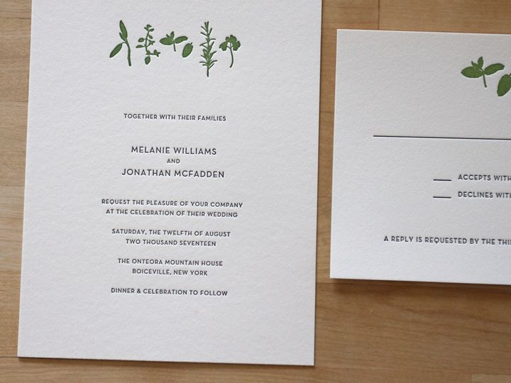 Tmx 1483582497898 Herbs Letterpress Wedding Invitation Foodie Durham wedding invitation