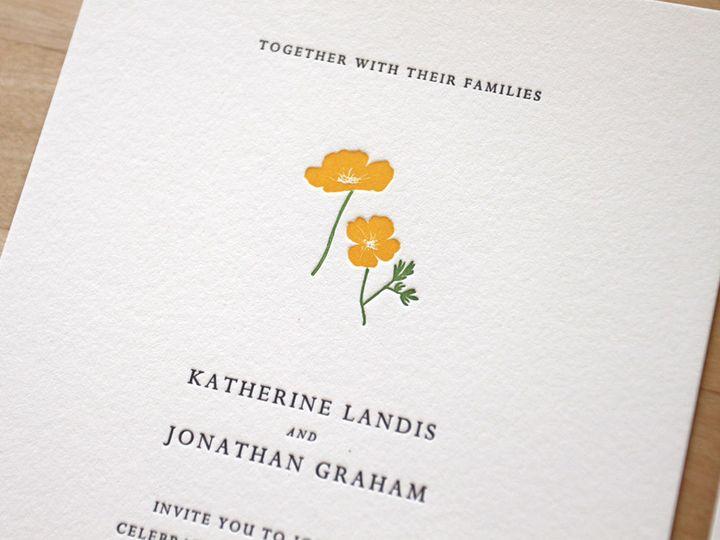 Tmx 1483582513899 Letterpress Wedding Invitations California Flowers Durham wedding invitation