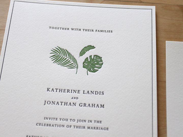 Tmx 1483582514380 Letterpress Wedding Invitation Tropical Leaves Cos Durham wedding invitation
