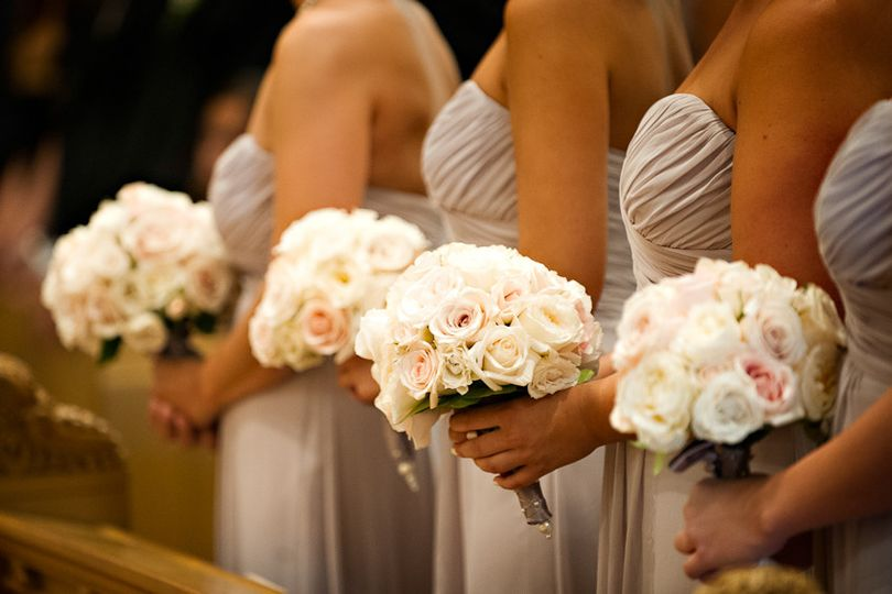 A row of bouquets