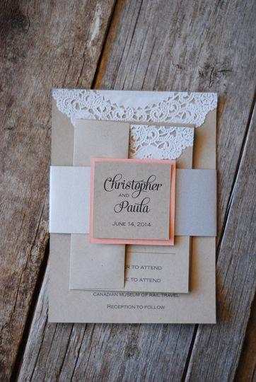 coral lace silver invitation